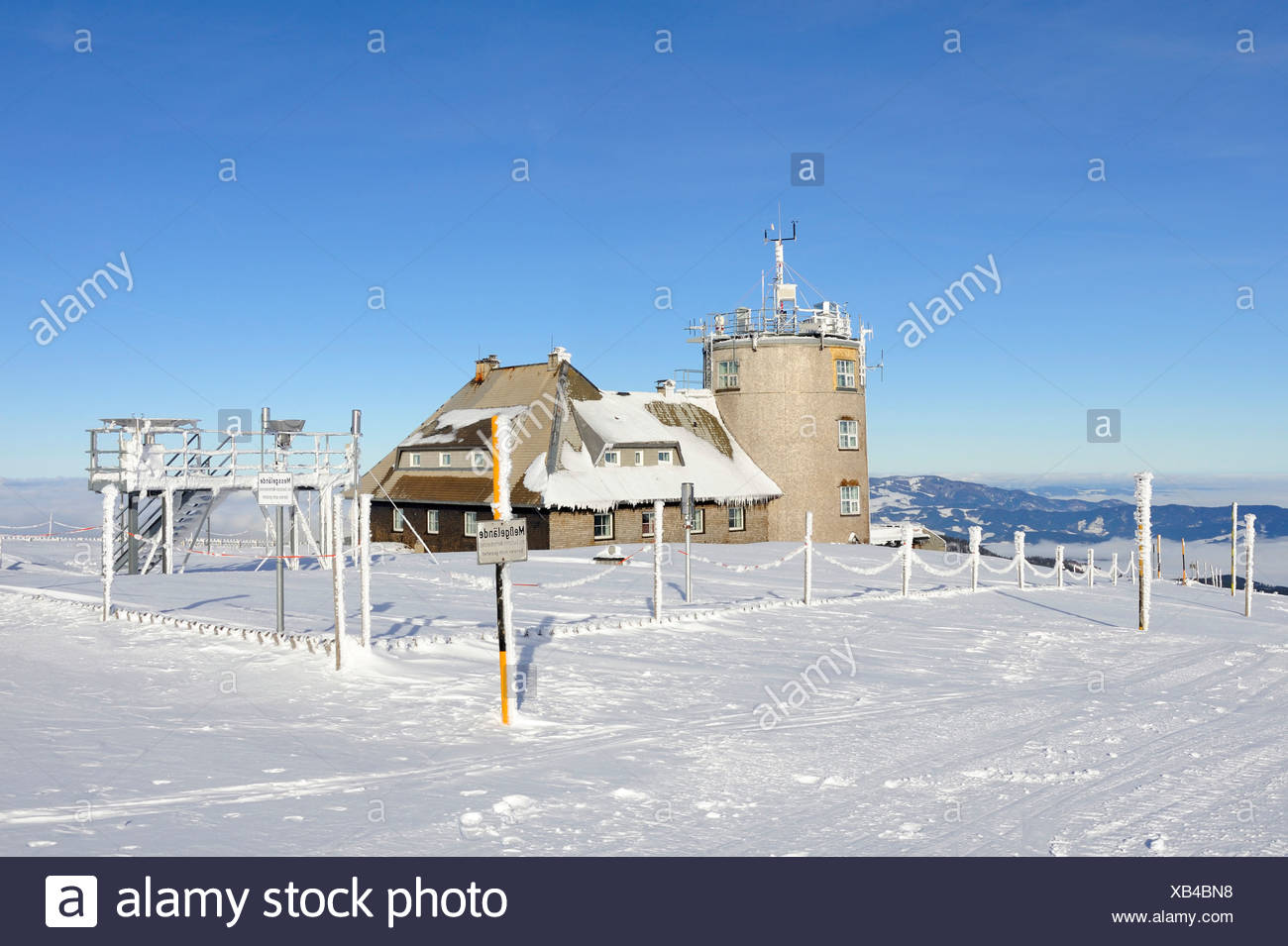 Weather observation station of the German Weather Service built in 1937, on the 1493m high Mt. Feldberg in the Black Forest, - Stock Image