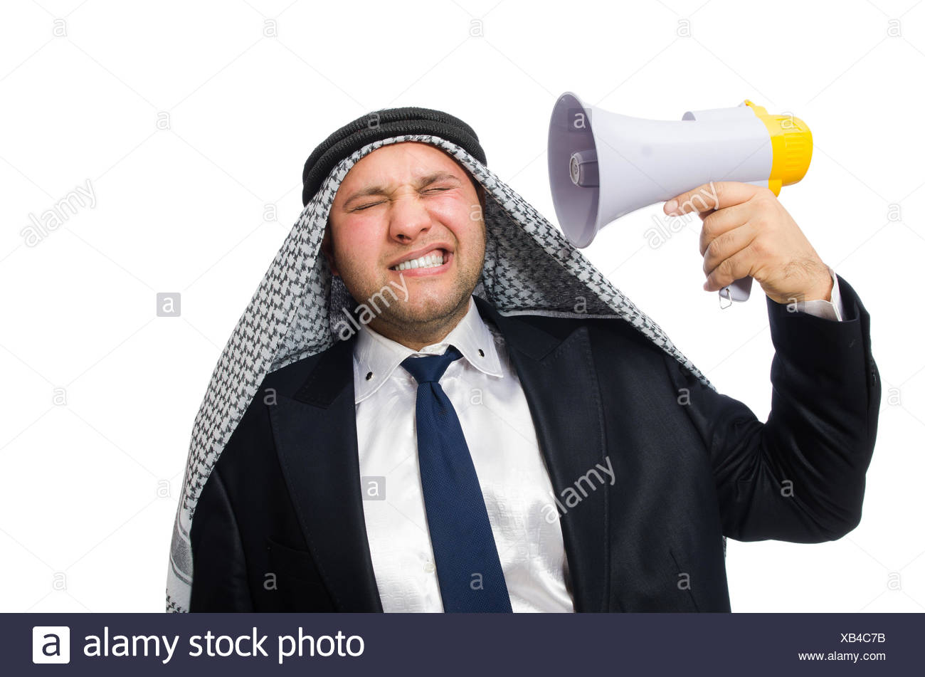 Arab man with loudspeaker isolated on white - Stock Image