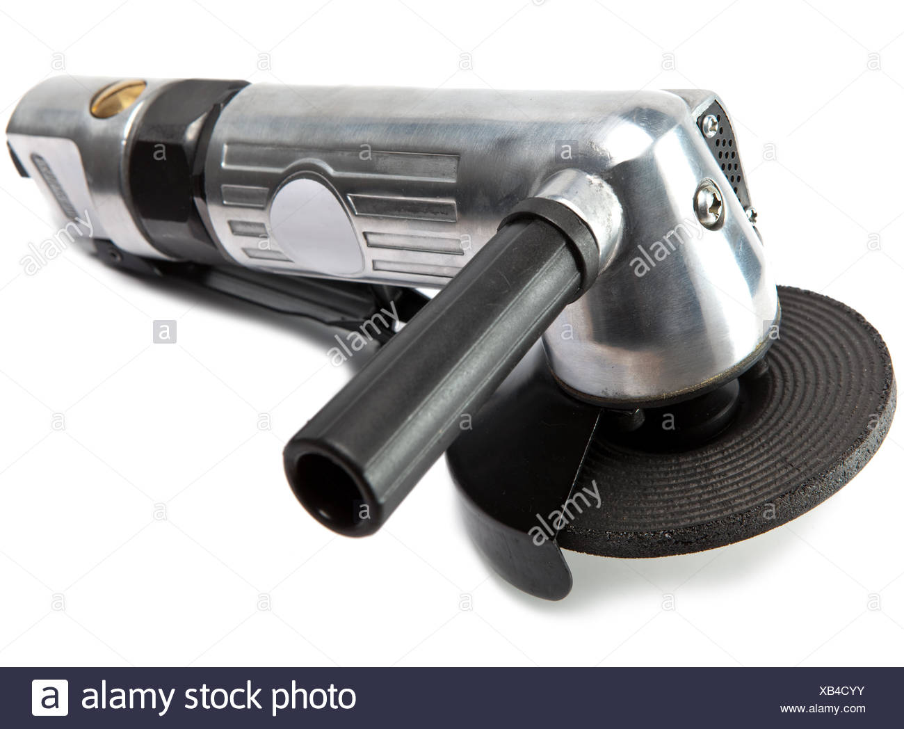 air angle grinder on white background - Stock Image