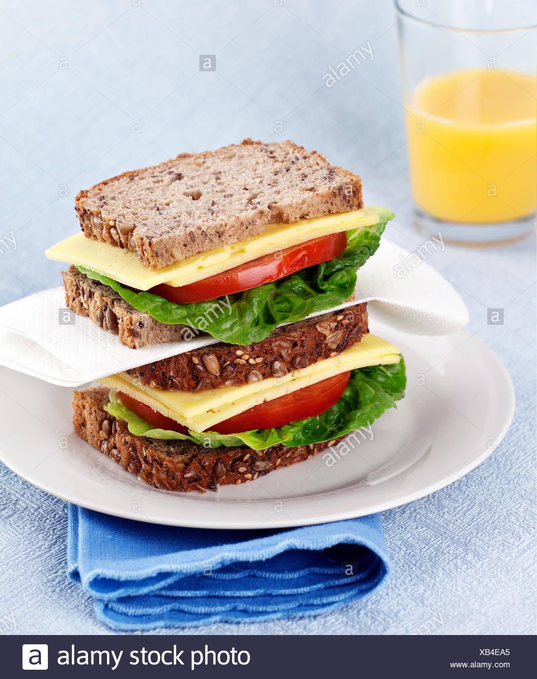 bread cheese sandwich - Stock Image