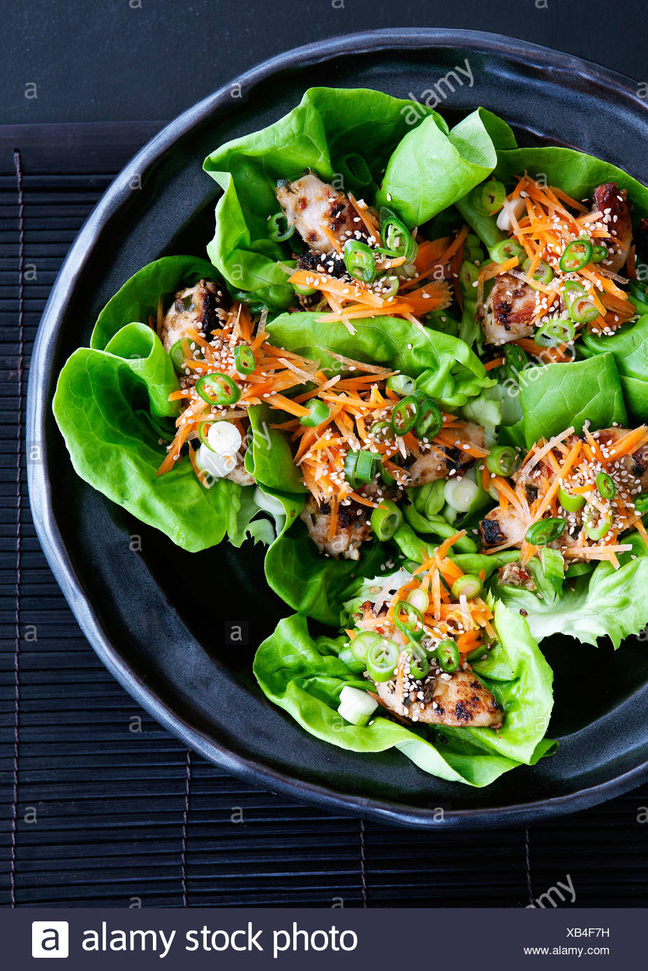 Bowl of salad wraps with lettuce - Stock Image