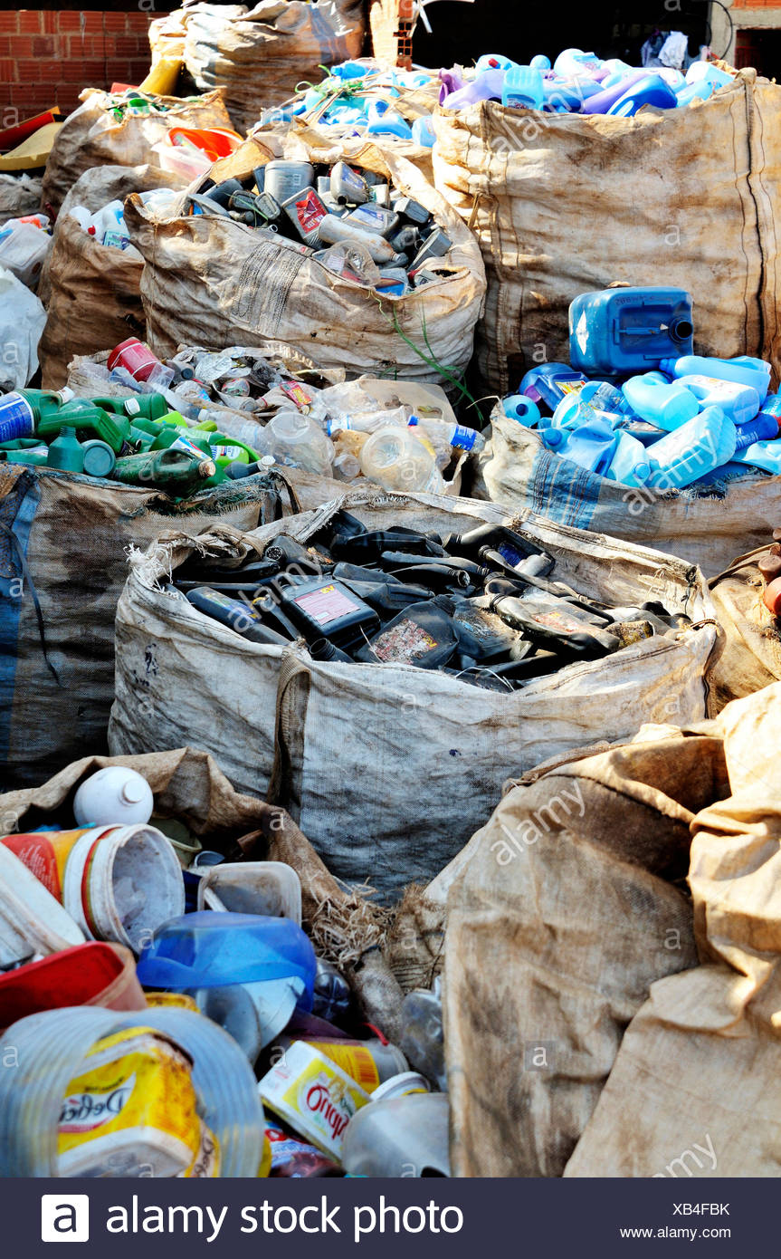Brazil Ceilandia sacks of separeted plastic waste at recycling yard - Stock Image