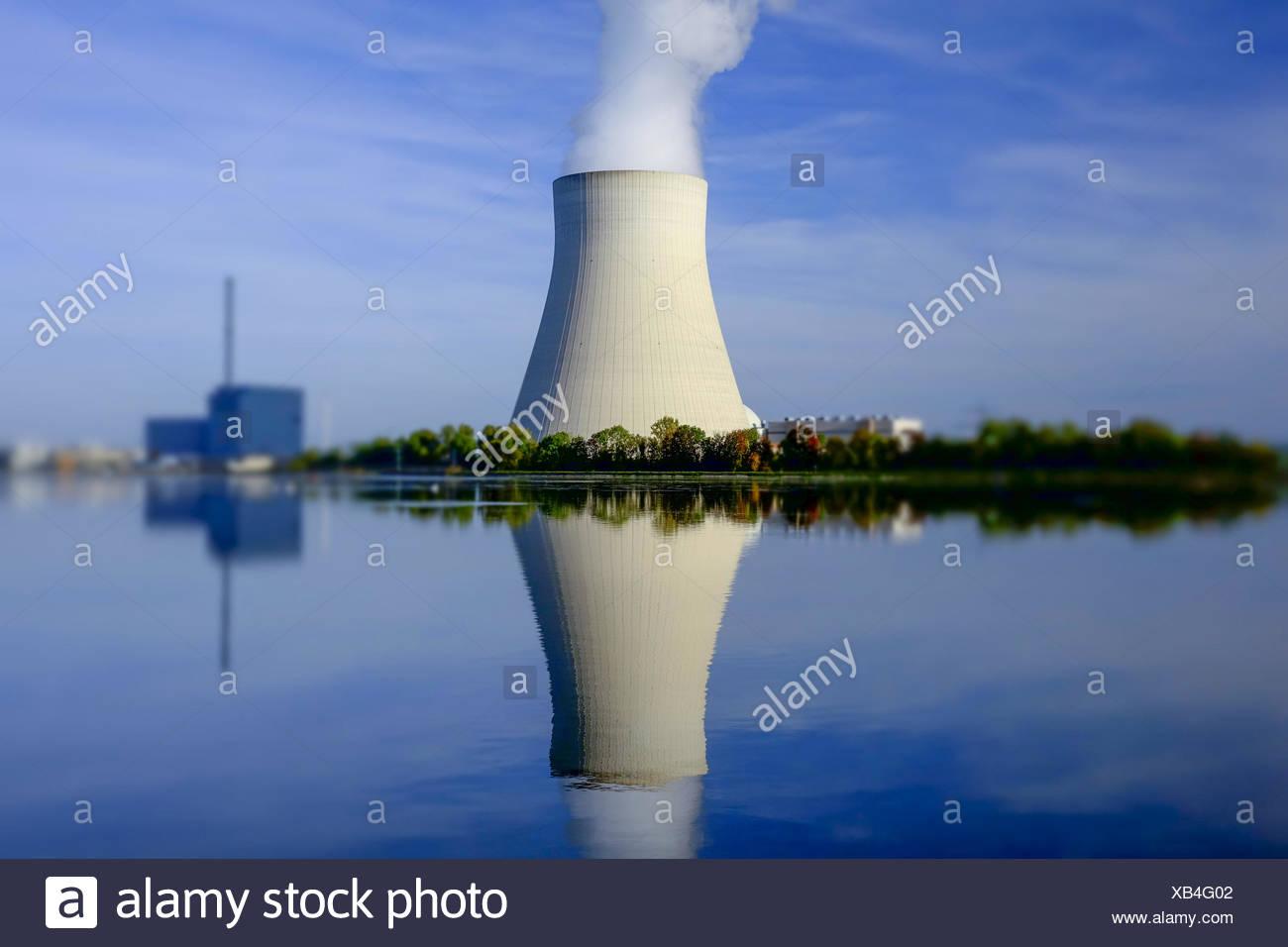 Atomkraftwerk Ohu bei Landshut, Bayern, Deutschland, Nuclear power plant Ohu near Landshut, Bavaria, Germany, Nuclear, Power, Pl - Stock Image