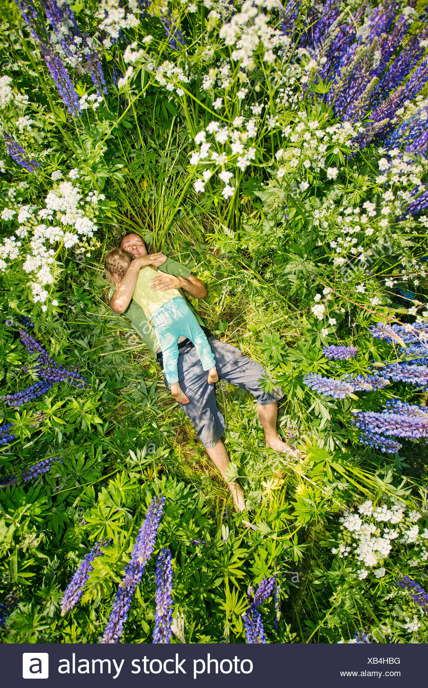 Finland, Man and girl (2-3) lying in meadow - Stock Image