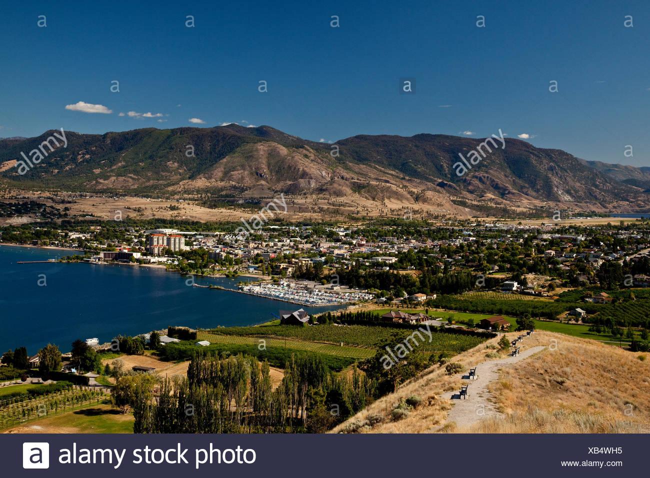 View of Penticton from Naramata Bench, Okanagan Valley, BC, Canada - Stock Image