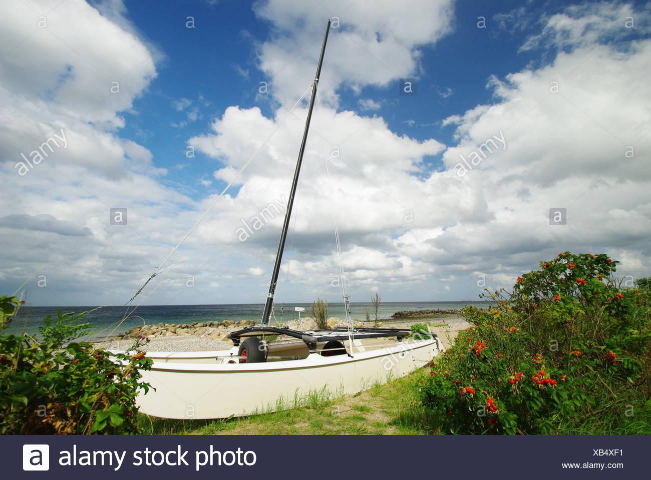 catamaran on the beach of schonhagen - Stock Image