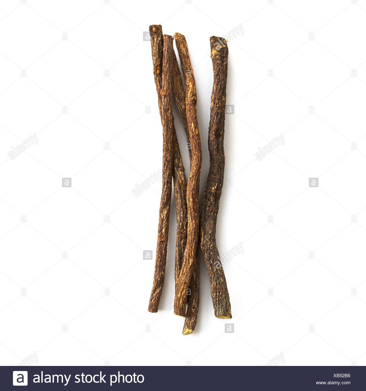 Liquorice Glycyrrhiza glabra root Stock Photo