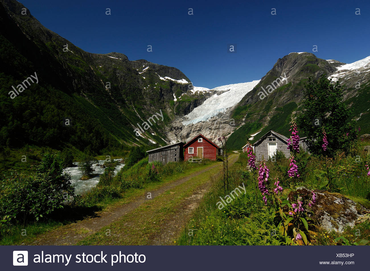 Mountain hut and glacier, Norway Stock Photo