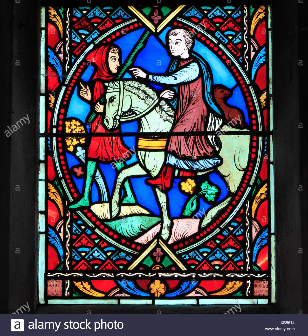 Parable of The Prodigal Son, by Didron of Paris, 1859.  Stained glass window, Feltwell Church, Norfolk, England, Prodigal Son rides to distant land - Stock Image