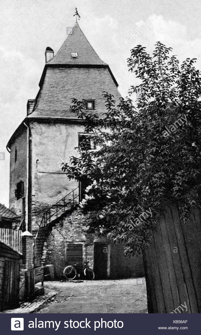 Bueckler, Johann, nicknamed Schinderhannes, 1777 - 21.11.1803, German outlaw, his tower in Simmern, Hunsrück, picture postcard, Additional-Rights-Clearances-NA - Stock Image