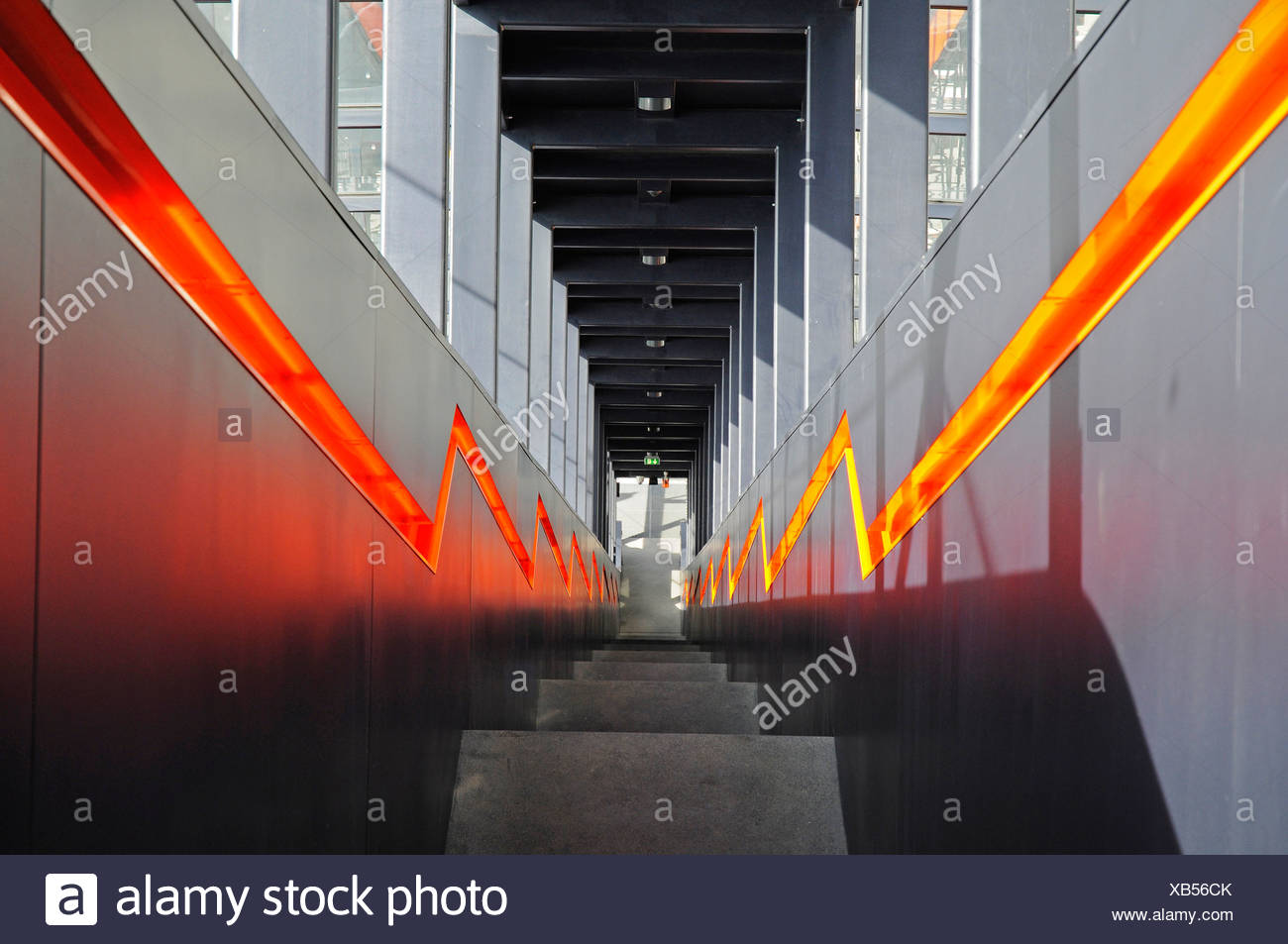 Steep stairs, steps, escalator, Zeche Zollverein, Zollverein Coal Mine Industrial Complex, Essen, North Rhine-Westphalia - Stock Image