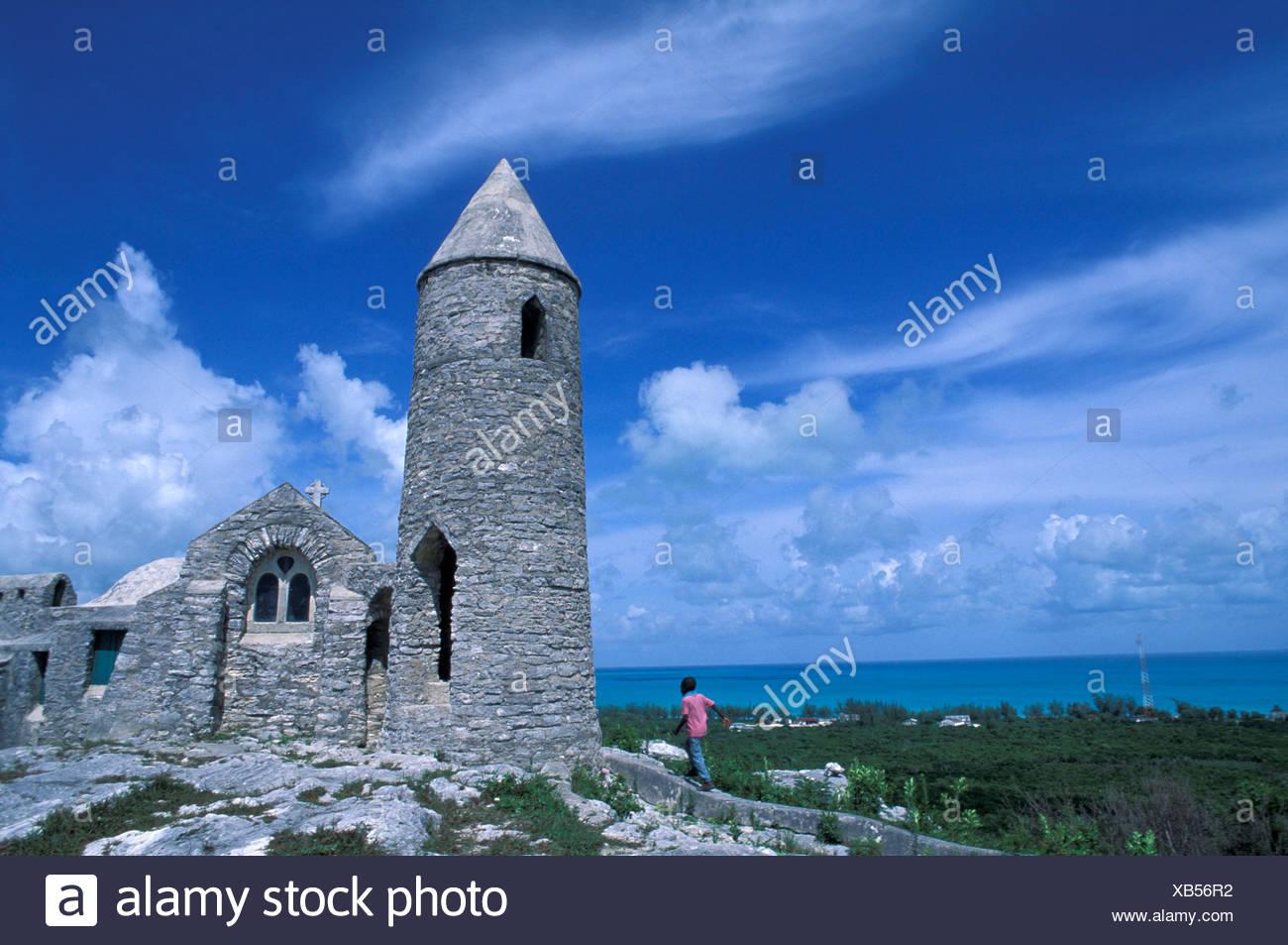 boy Cat Island church coast hermit´s church hill island isle Mount Alvernia sea Bahamas - Stock Image