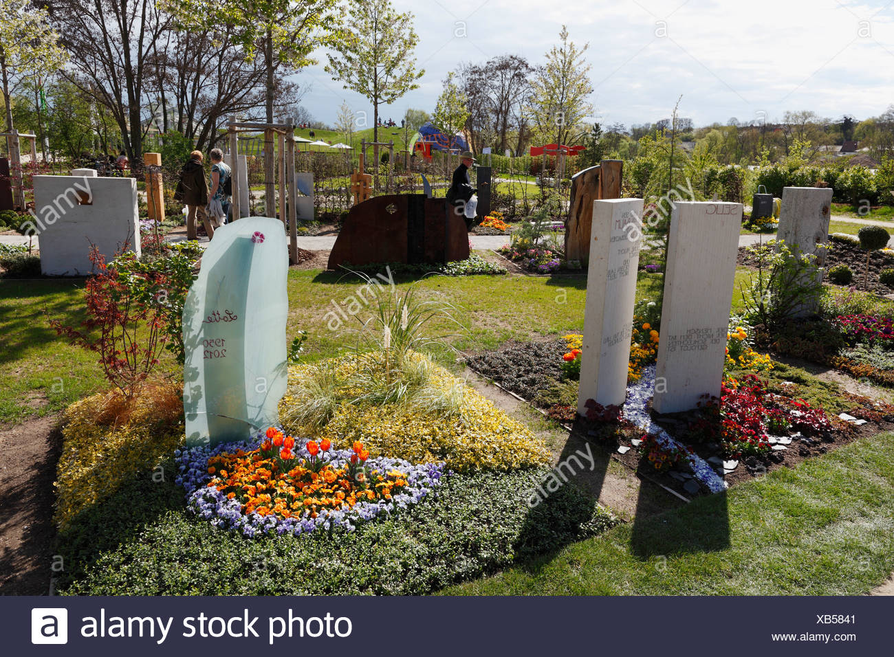 Grave or cemetery garden, Bavarian horticultural show 2012 in Bamberg, Upper Franconia, Franconia, Bavaria, Germany, Europe Stock Photo
