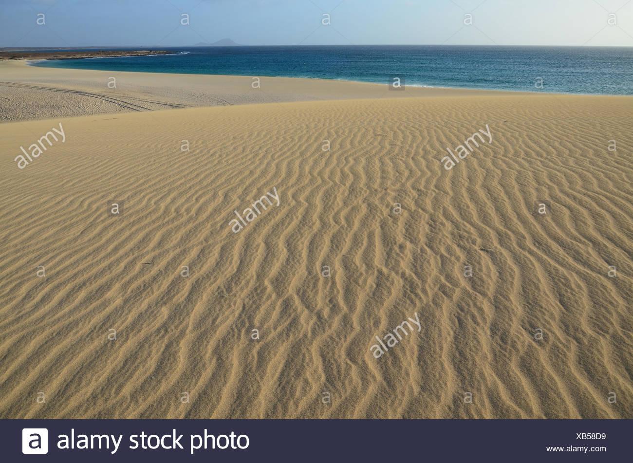 Cape Verde, Cape Verde Islands, sal, ponta preta, sand, dunes, sea, waves, Atlantic, beach, seashore, sand beach, lines, structur Stock Photo