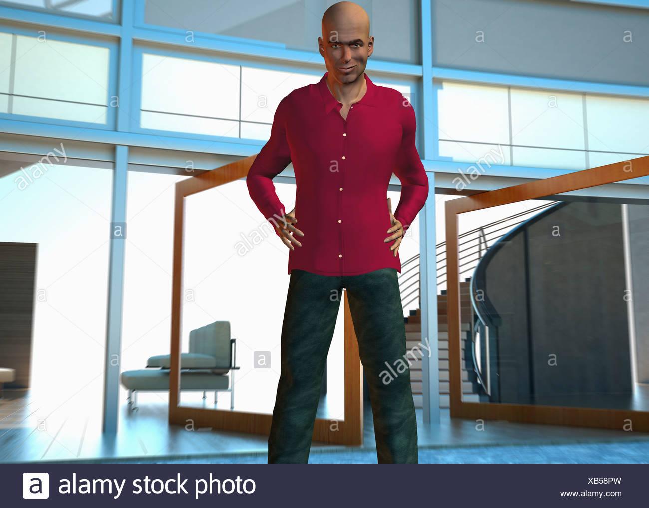 Computer Generated Image Of A Cool Looking Man Posing For Camera - Stock Image