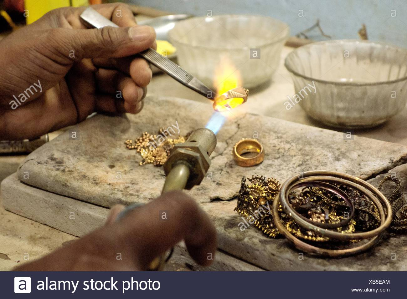 Goldsmith Working With A Unfinished Ring Stock Photo
