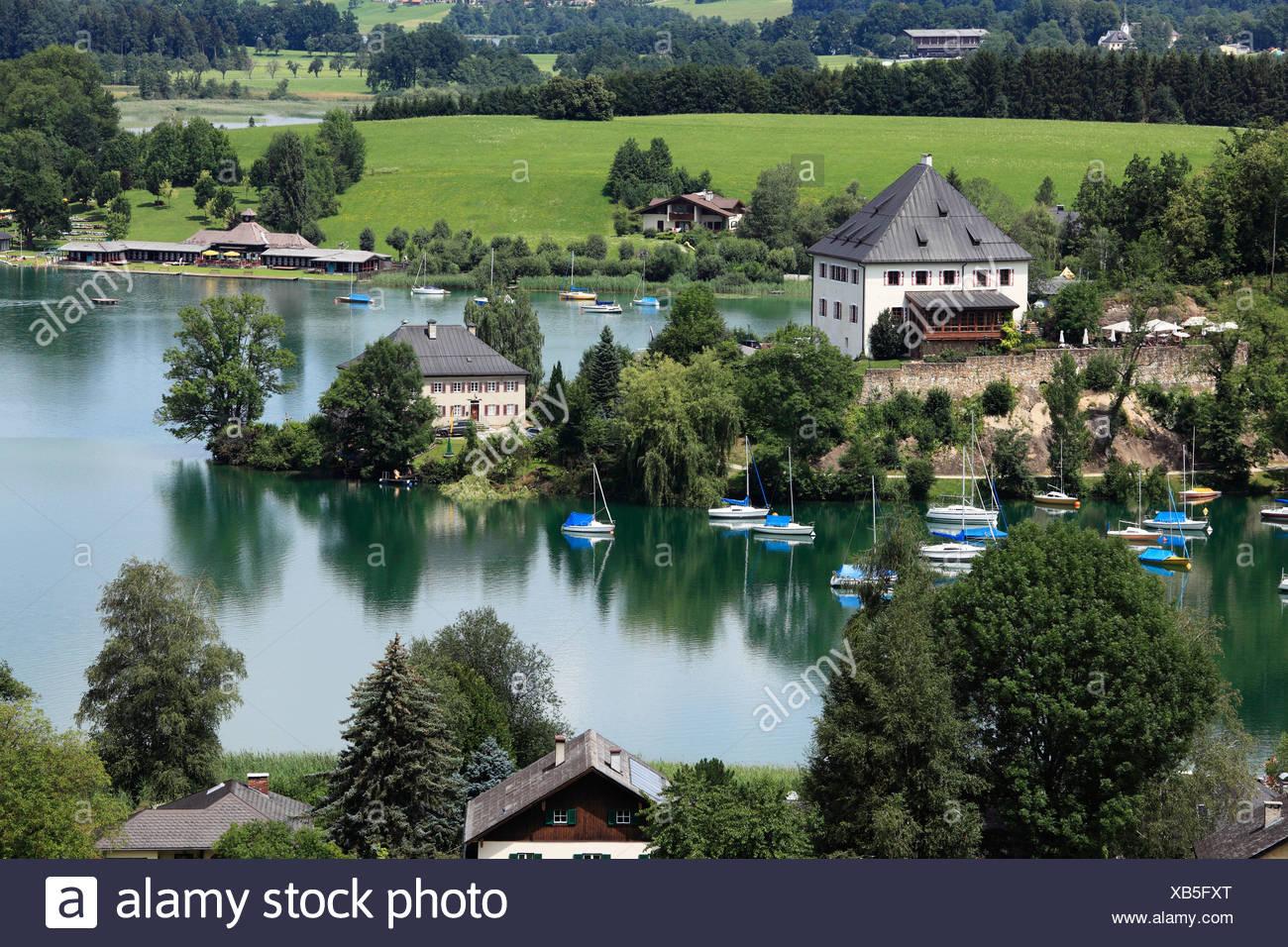 Mattsee with castle, Flachgau, Salzburger Land, Land Salzburg, Austria, Europe Stock Photo
