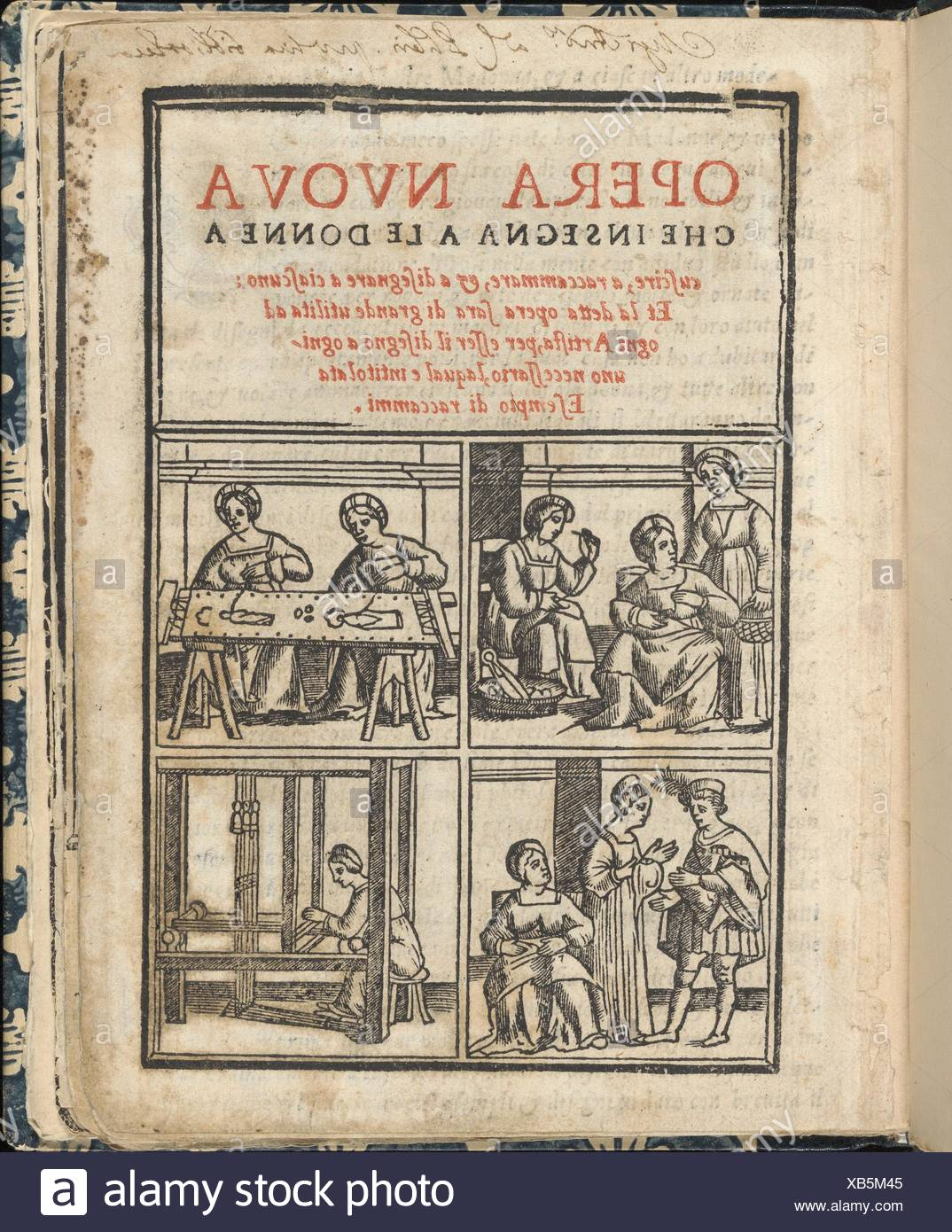 Essempio di recammi. Author: Giovanni Antonio Tagliente (Italian, Venice ca. 1465-1528 Venice); Publisher: Giovanni Antonio di Nicolini da Sabio e i - Stock Image