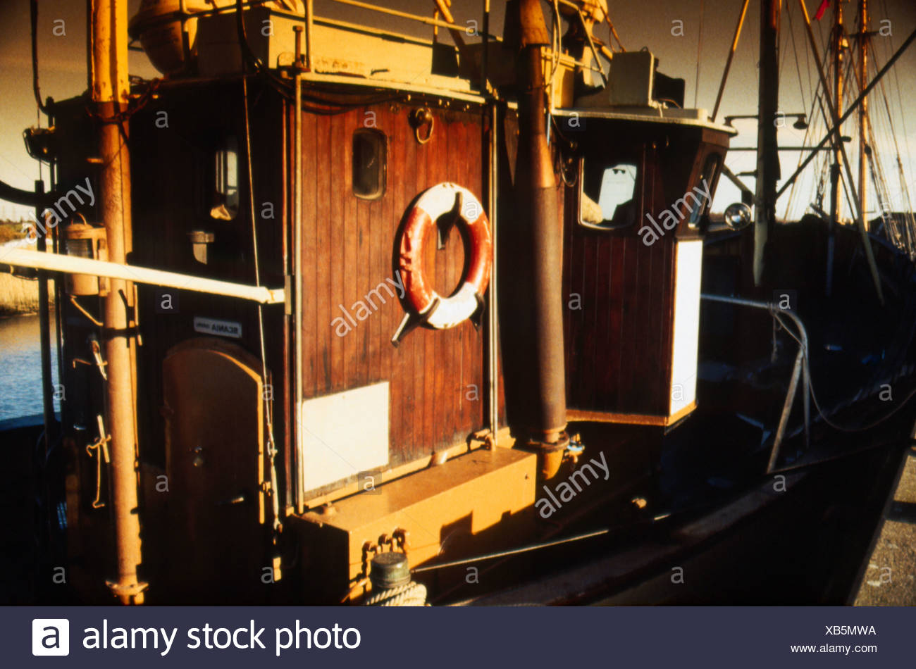 Deck And Cabin On Old Fishing Boat Stock Photo Alamy
