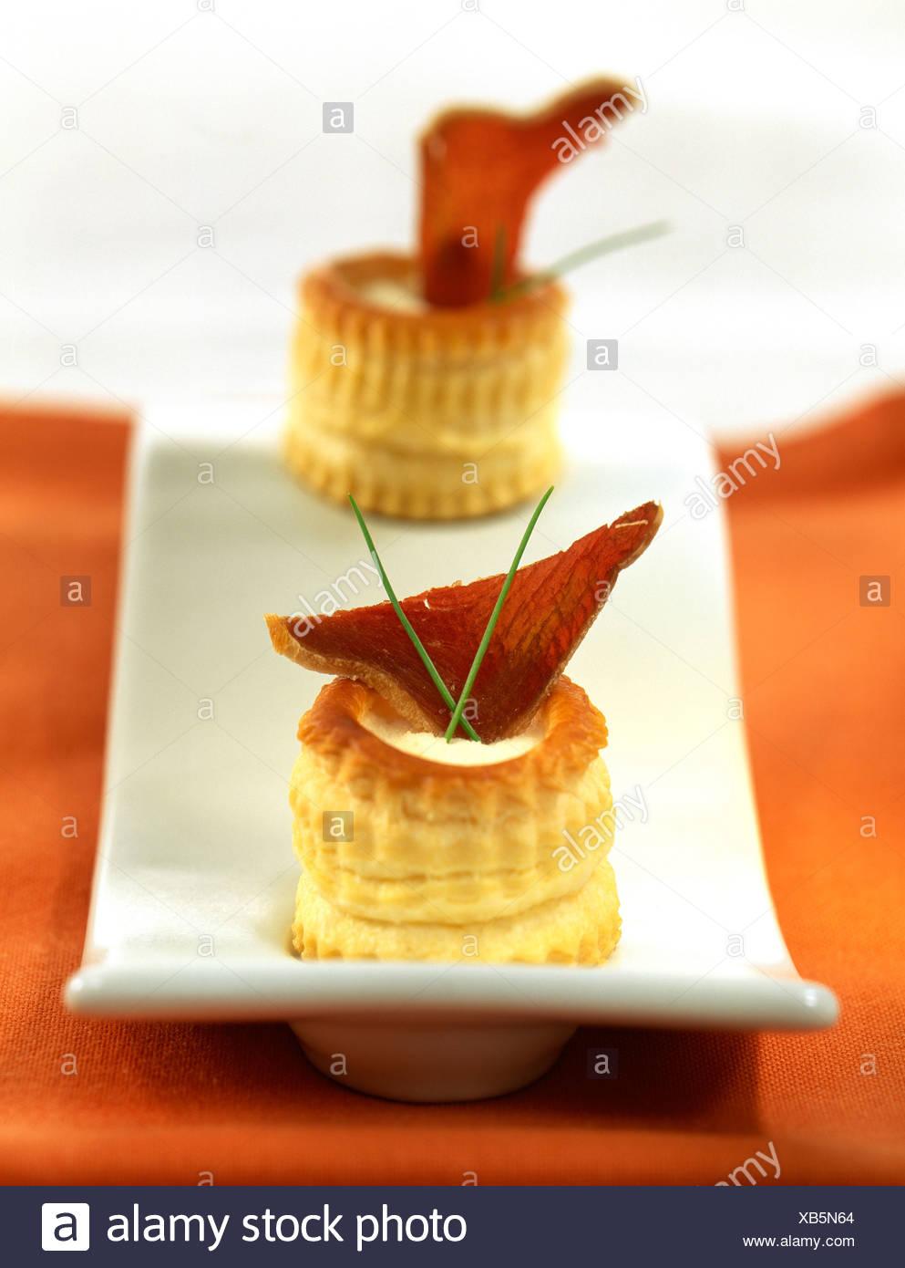 Salmon vol-au-vent and pureed almonds Stock Photo