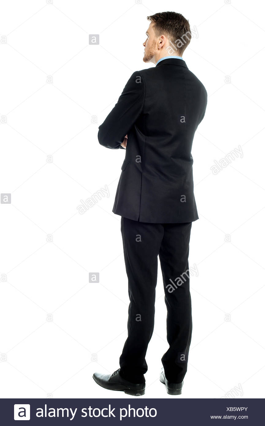 Thoughtful businessman,  Rear view image - Stock Image