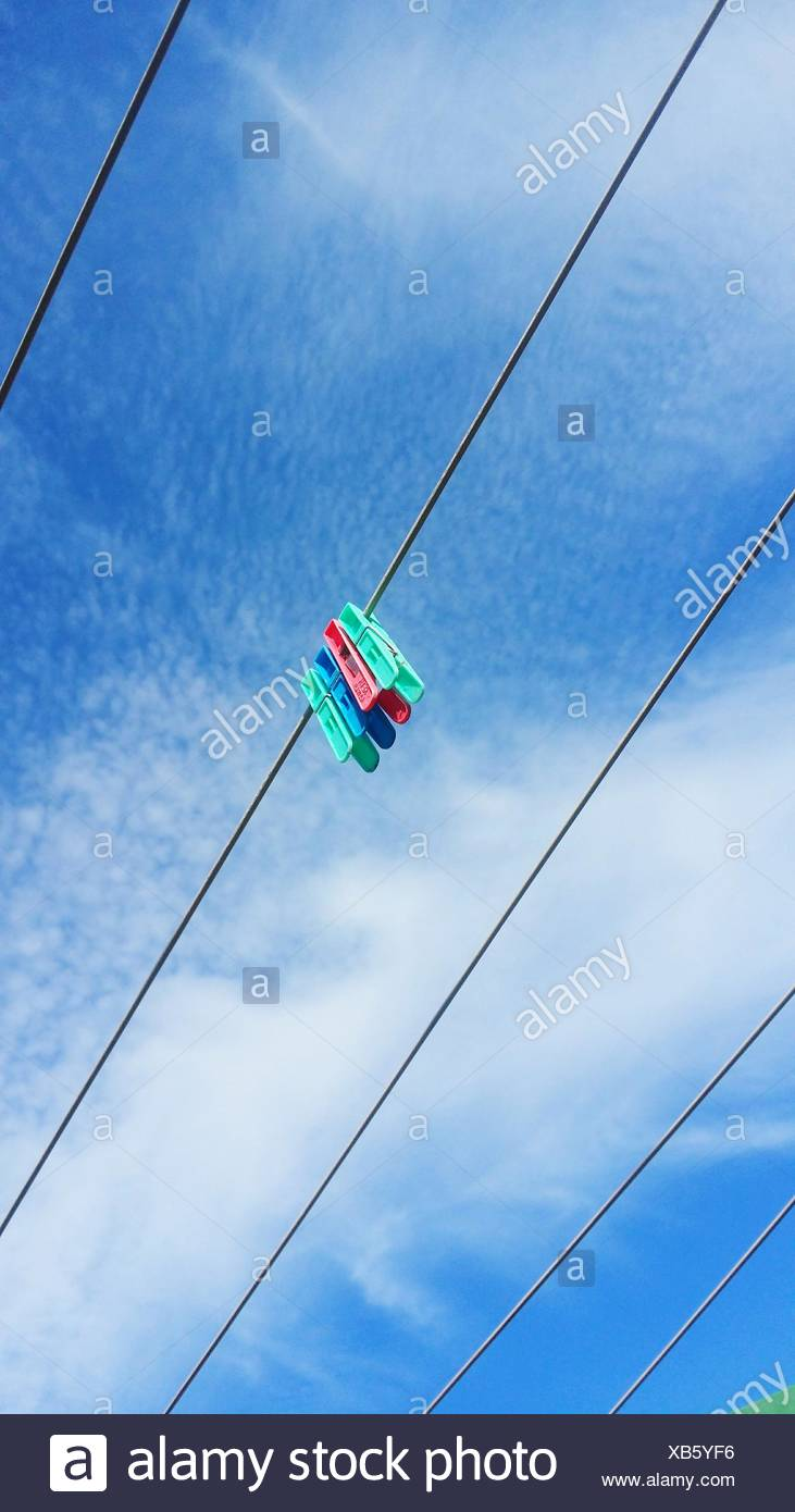 Clothespins On Clothesline - Stock Image