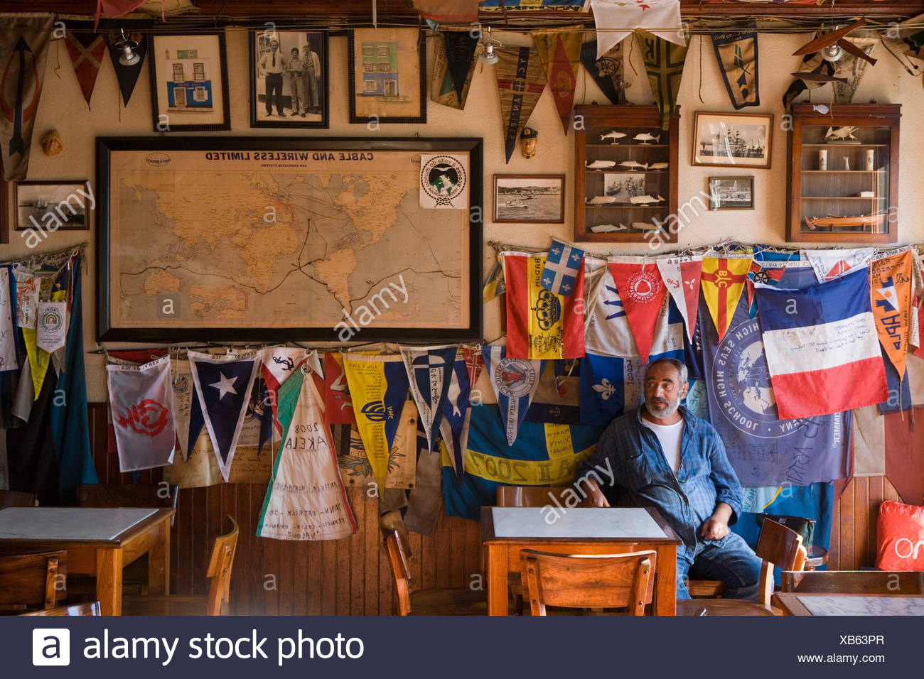 Interior of Peter Cafe Sport, a legendary yacht crew bar in the middle of the Atlantic Ocean, Horta, Faial Island, Azores, Portu Stock Photo