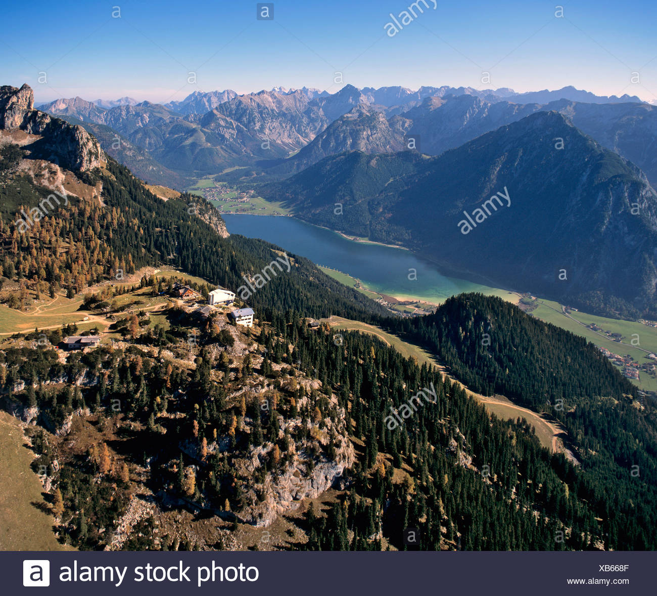 View on Seefeld, in the middle Mieminger Kette with Hohe Munde, on the right Wettersteingebirge, Tyrol, Austria Stock Photo