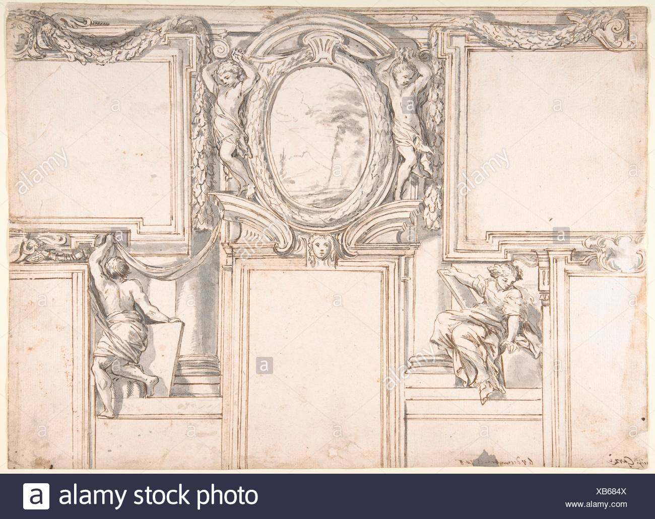 Design Wall Elevation with Stucco and Painted Decorations. Artist: Luigi Garzi (Italian, Pistoia 1638-1721 Rome); Date: 1708; Medium: Pen and brown - Stock Image