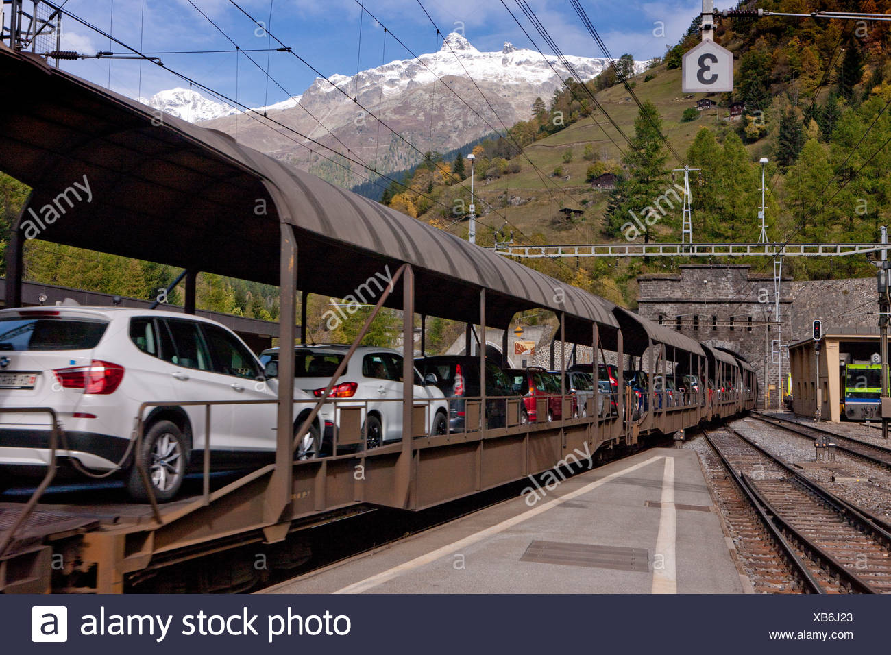 Tunnel, entrance, Goppenstein, VERSUS, road, railway, train, railroad, autumn, Lötschberg, canton, Valais, BLS, Switzerland, Eur - Stock Image