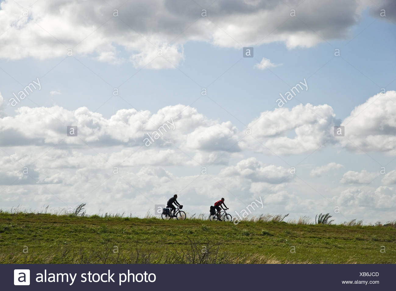 Cyclist, dyke, cloudy sky, - Stock Image