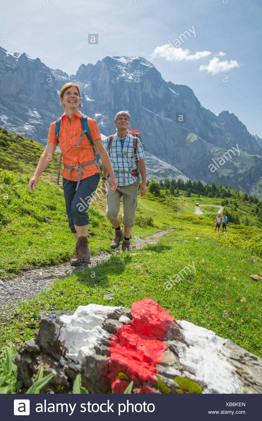 Hiking in Reichenbachtal valley, - Stock Image