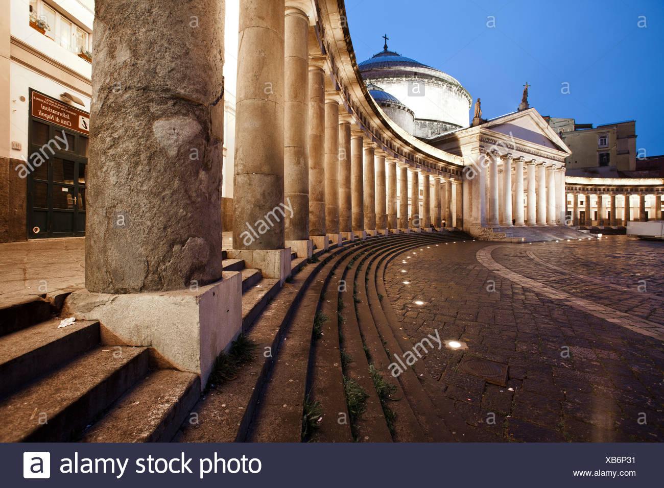 Abendstimmung, Campania, Golf von Neapel, Italien, Kampanien, Meer, Mittelmeer, Neapel, Piazza, Piazza Plebiscito, Platz - Stock Image