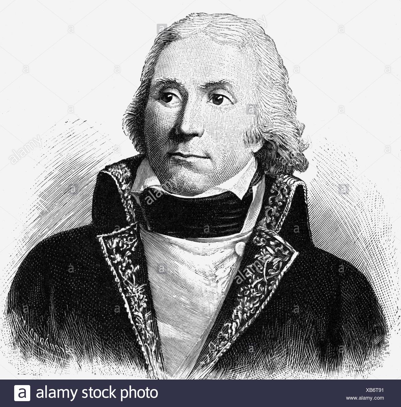 Masséna, André, 6.5.1756 - 14.4.1817, French general, portrait, wood engraving by Brendamour, 19th century, , Stock Photo