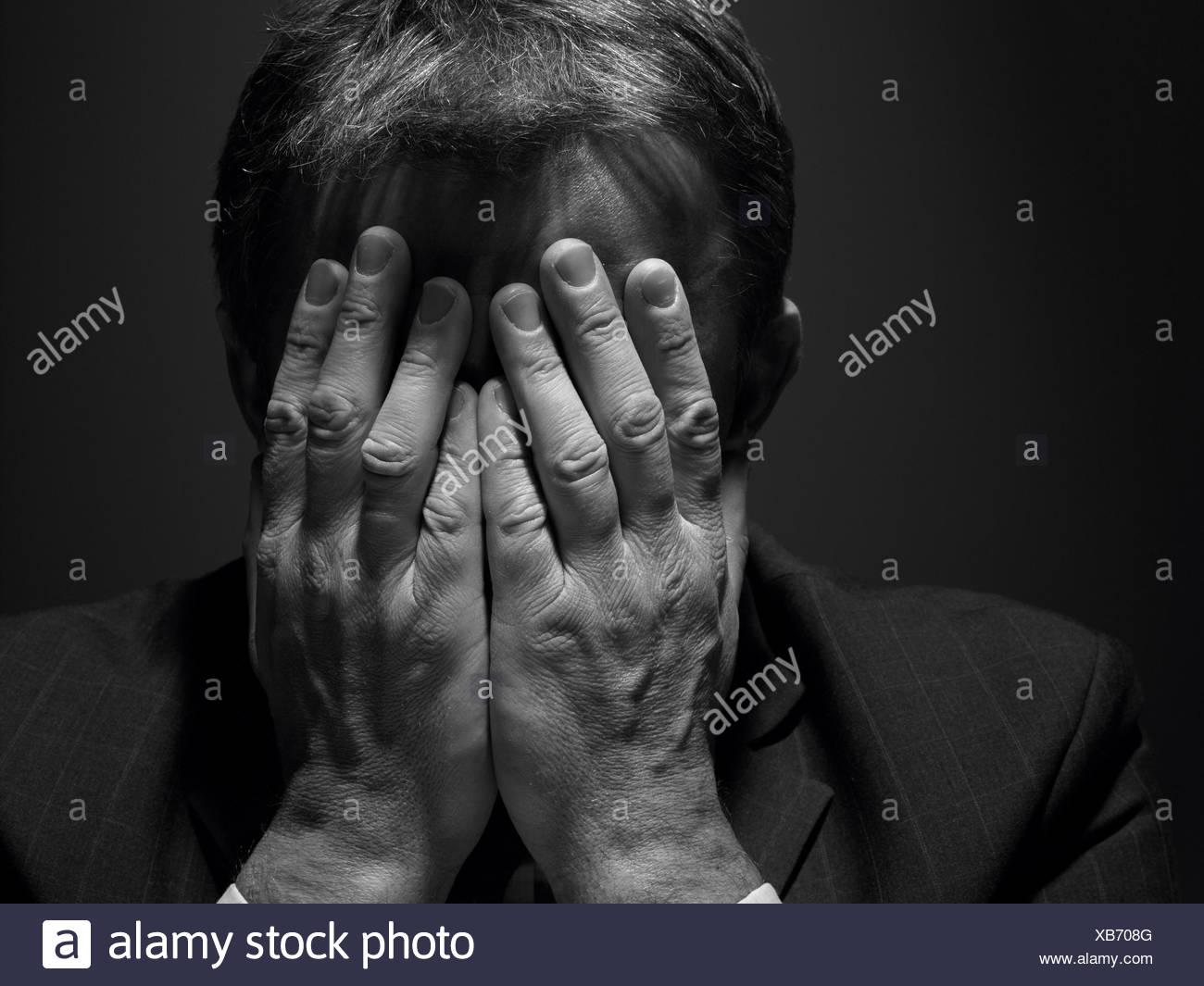 frustration,depression,businessman - Stock Image