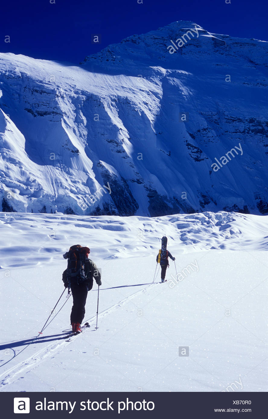 Two men ski touring under sunny skies in the shadow of the north face of Mount Everest. Stock Photo
