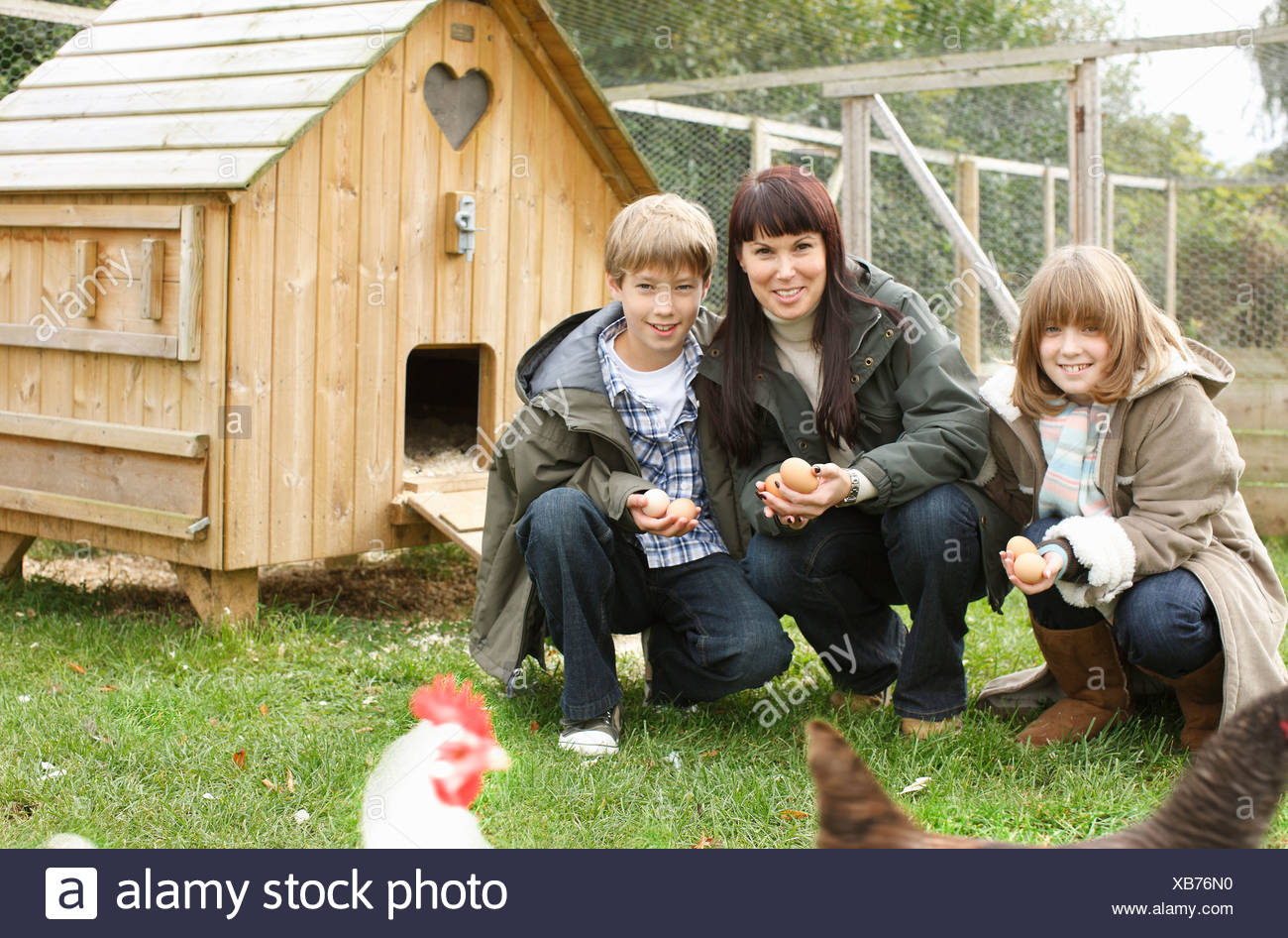 Mother and children feeding chickens Stock Photo