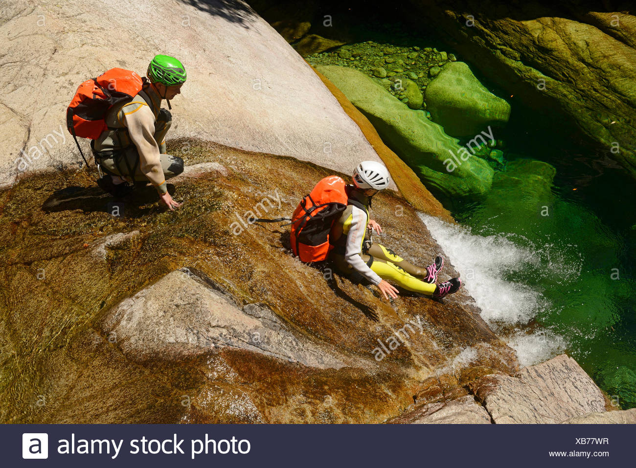 canyoning in the canyon of Purcaraccia in Bavella mountains, France, Corsica, Bavella - Stock Image