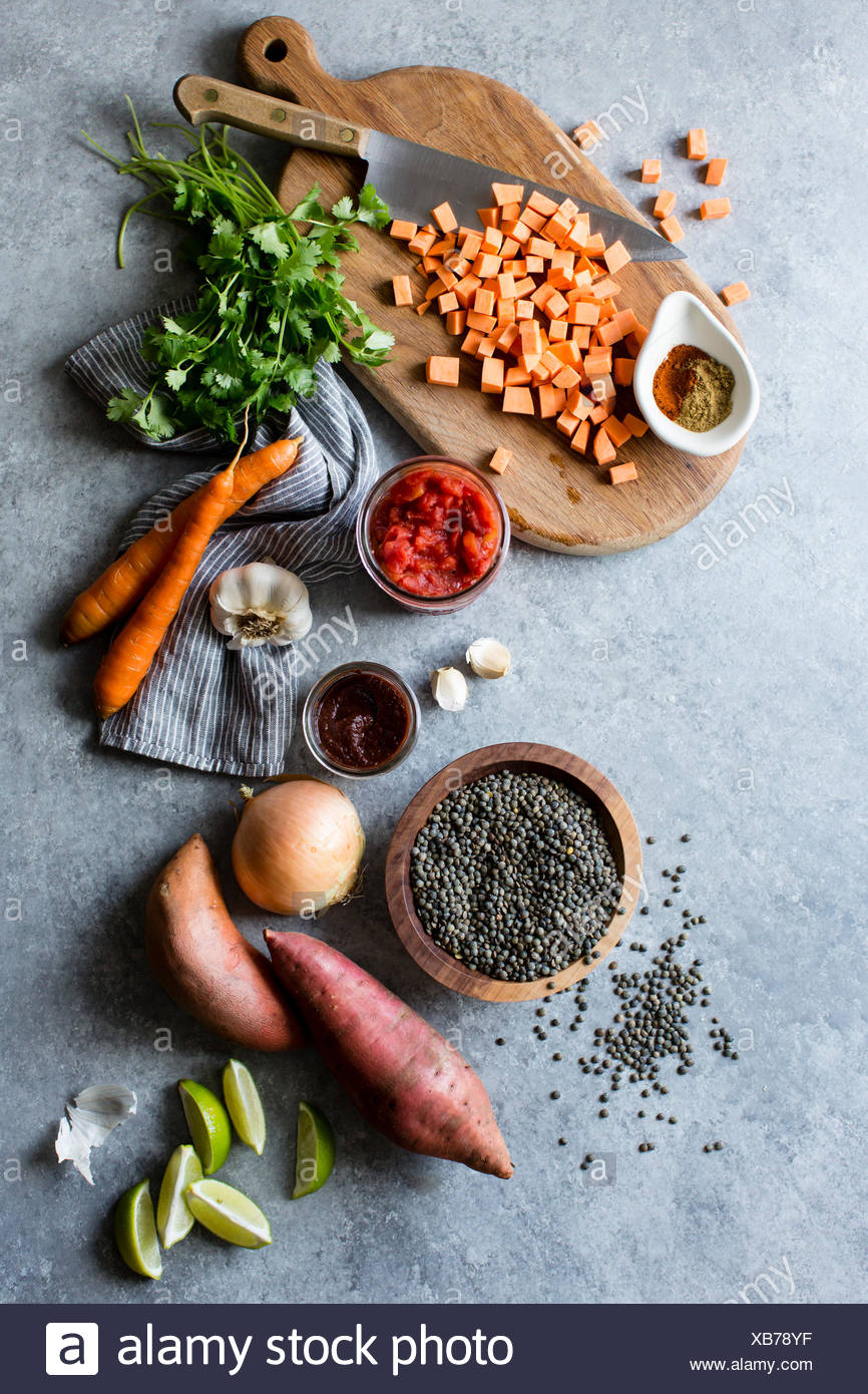 Mixed vegetables being prepared for soup. - Stock Image