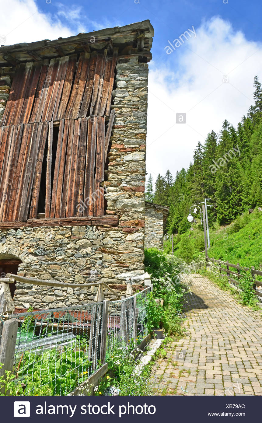 Part of the Via Francigena pilgrimage route from Canterbury to Rome. This section is just below the Gt St Bernard Pass in northe - Stock Image