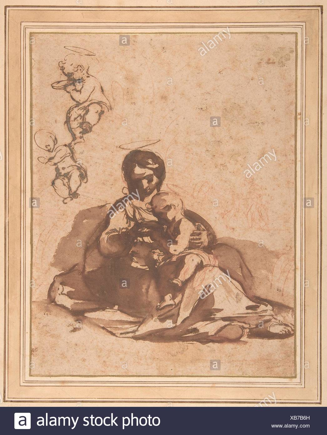 Studies for a Rest on the Flight into Egypt. Artist: Rutilio Manetti (Italian, Siena 1570-1639 Siena); Date: 1571-1639; Medium: Pen and brown ink, - Stock Image