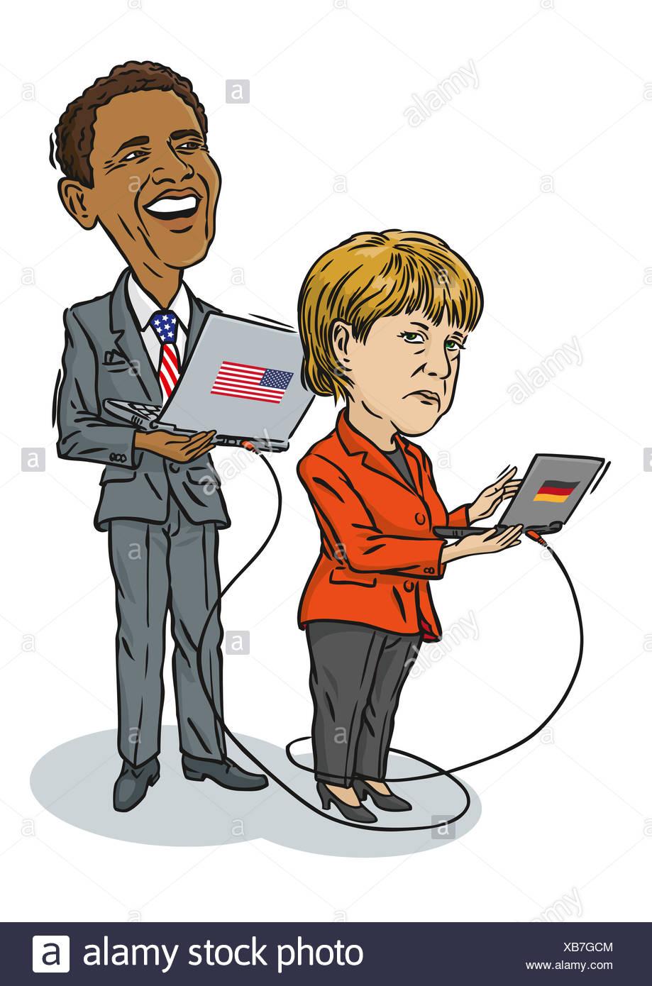 Obama am Computer überwacht Merkel und speichert Daten. - Stock Image