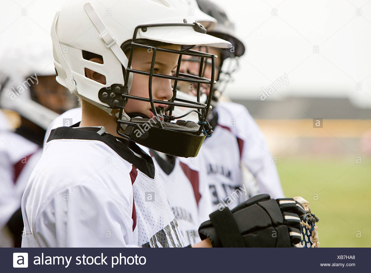 Junior lacrosse players - Stock Image