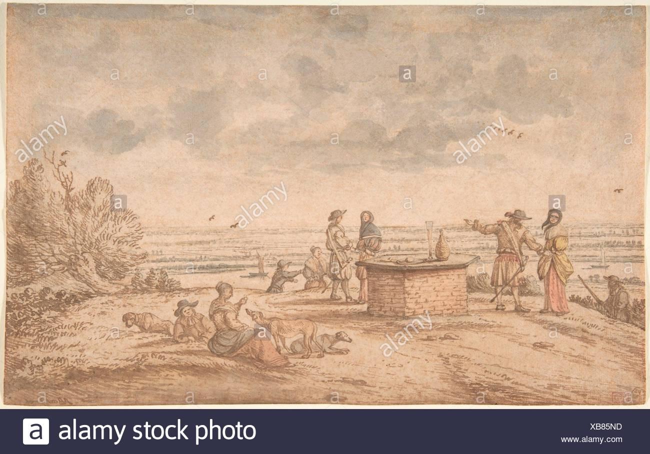 Elegant Party on the Tafelberg. Artist: Anthonie van Borssom (Dutch, Amsterdam 1630/31-1677 Amsterdam); Date: 17th century; Medium: Pen and brown - Stock Image