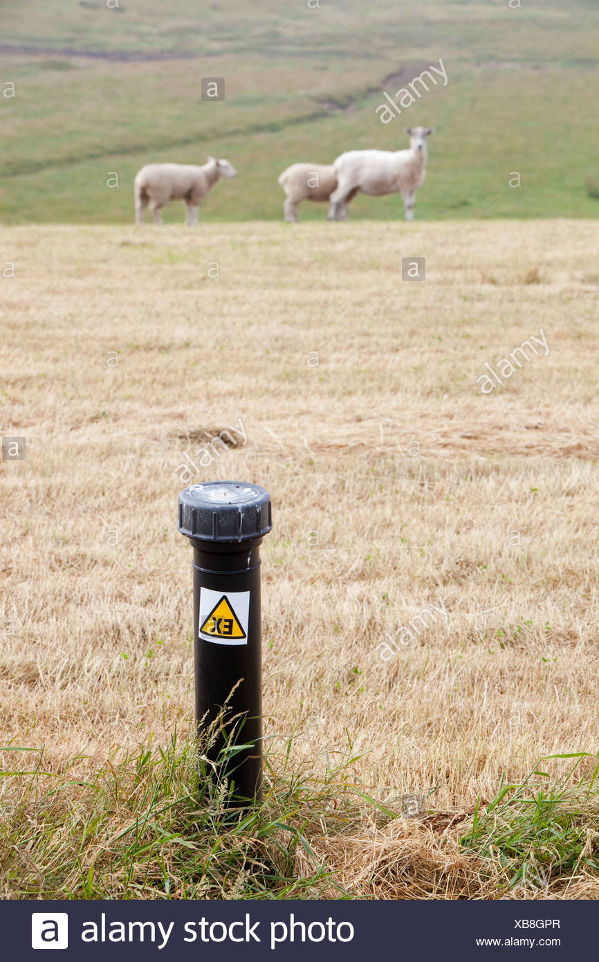 Capturing methane from an old landfill site on Walney Island, Cumbria, UK. - Stock Image