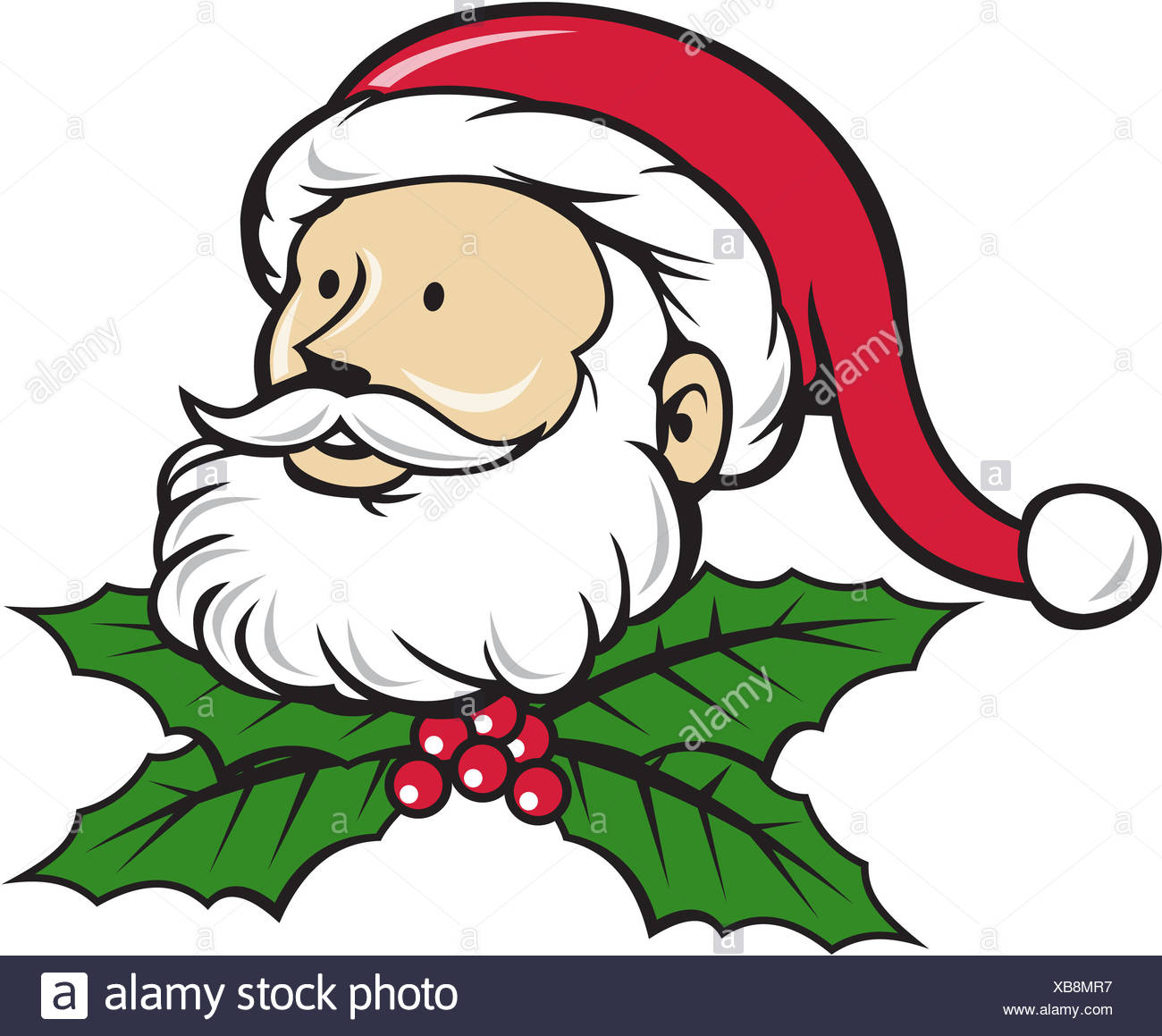 Christmas Holly Cartoon.Santa Claus Father Head Christmas Holly Cartoon Stock Photo