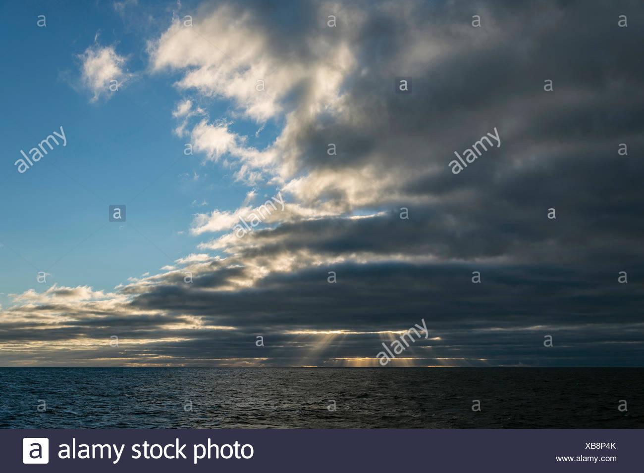 Clouds over Ocean, Jardines de la Reina, Cuba Stock Photo
