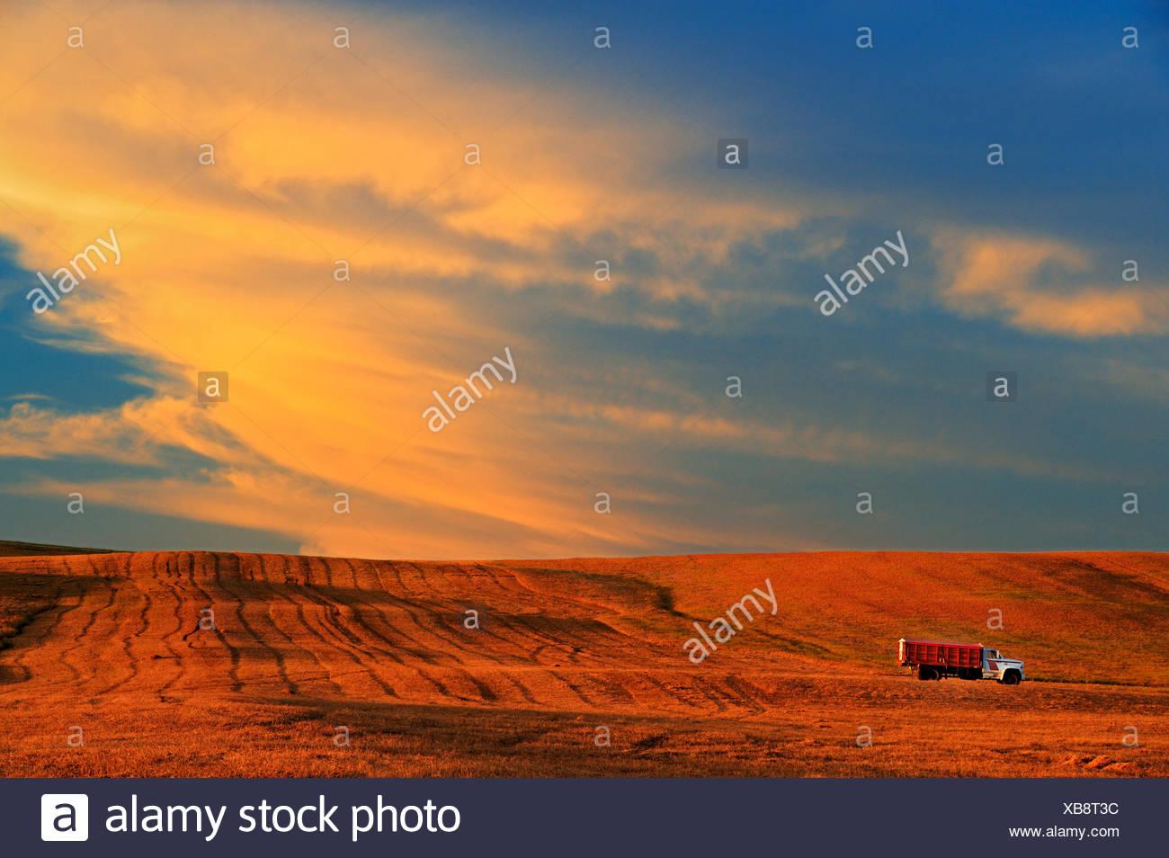Farm truck and clouds at sunset Braddock Saskatchewan Canada - Stock Image