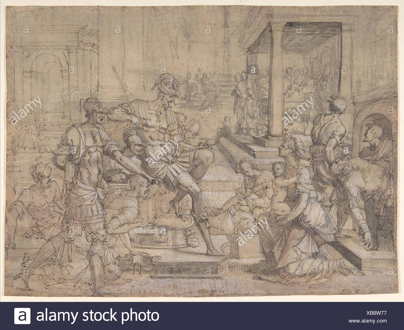 Amya Petitioning Faustus for the Custody of Saint Mamas. Artist: Jean Cousin the Elder (French, Souci (?) ca. 1490-ca. 1560 Paris (?)); Date: - Stock Image