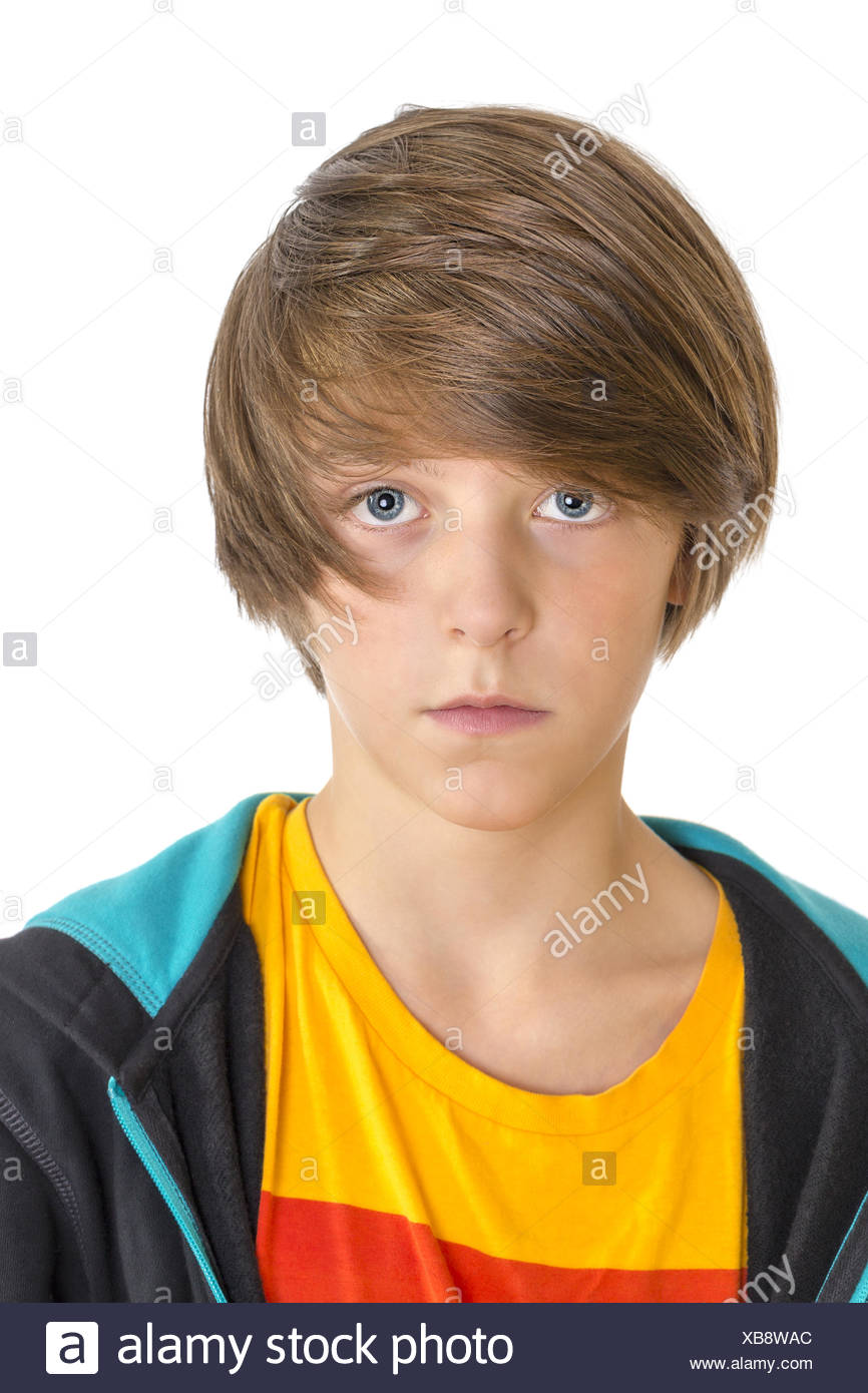 Closeup Of A Cute Teenage Boy Looking Into The Camera Isolated On White Stock Photo Alamy